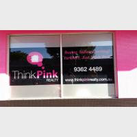 pink office sign