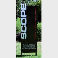 Vertical black sign